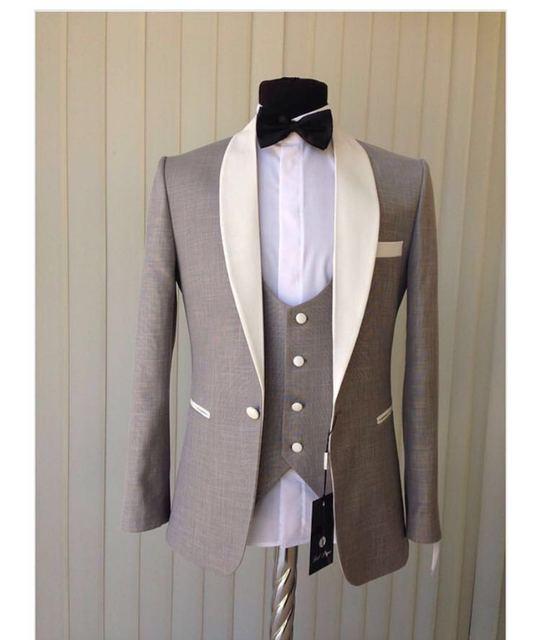2017 Nuevo Estilo de Gary Smokinges Del Novio Del Mantón Collar Mens Blazer Trajes de Baile (Jacket + Pants + Chaleco + Arco Tie) NO: 396