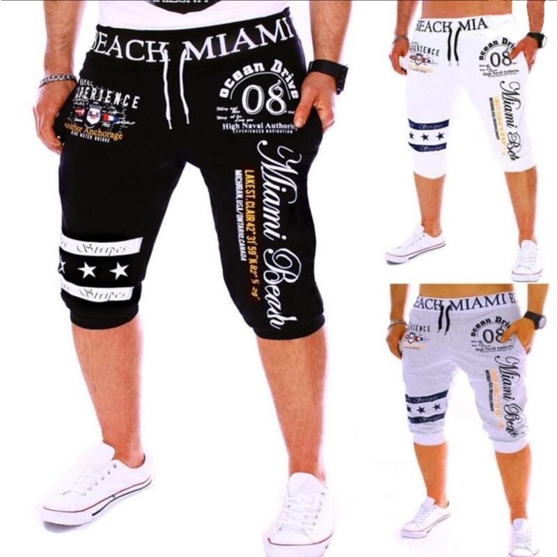 Zogga New Casual Men Shorts men clothes 2018 streetwear short pants Drawstring Elastic High Waist Printing jeans shorts men