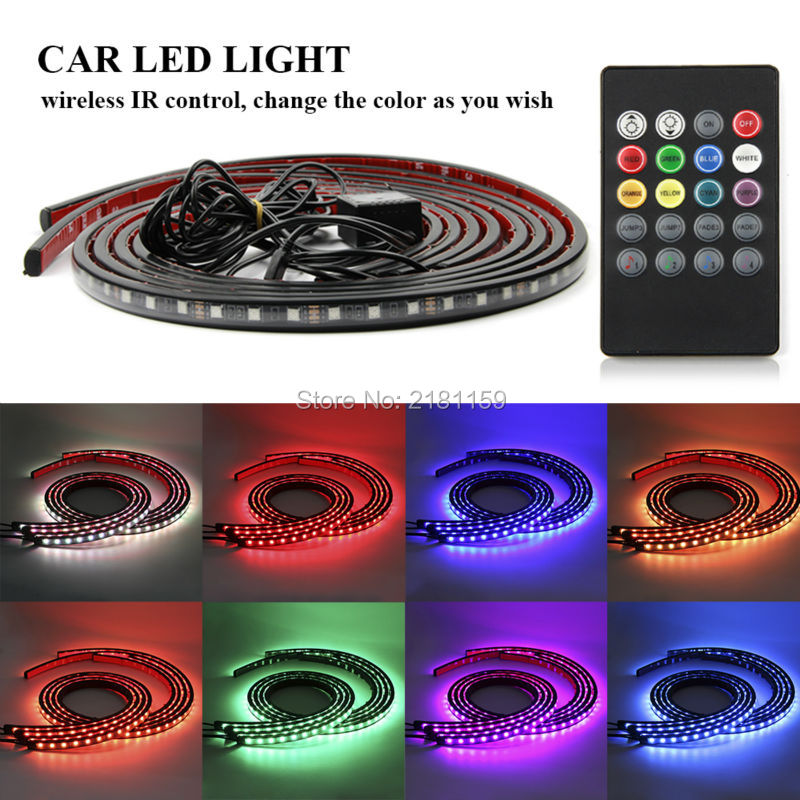 Car Music Control RGB Strip Light Flexible Atmosphere Lamp Foot Lamp Car Bumper Rear Bottom Decorative Light Wireless IR Remote цена