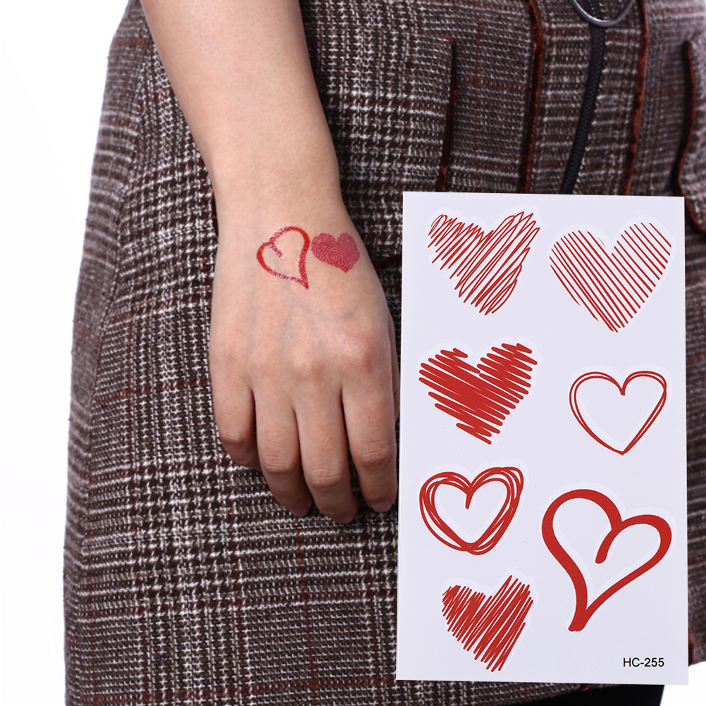 Temporary Fake Tattoo Stickers Waterproof Pink Black Fingerprint Love Heart Design Body Art Hand Arm Leg Tattoo 10.5*6.5cm ...