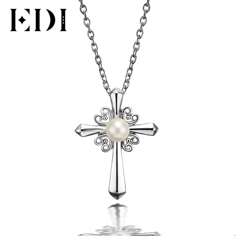 EDI Romantic Cross 5mm Natural Freshwater Pearl Heart Pendants 925 Sterling Silver Necklace Chain For Women Fine Jewelry