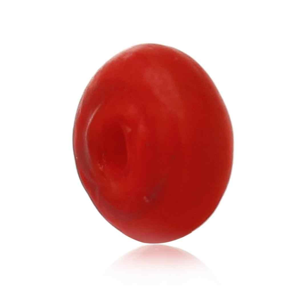 "Doreen b eads แก้วลูกปัด Abacus สีแดงมีน้ำค้างแข็งประมาณ 8 มิลลิเมตร (3/8 "") x 4 มิลลิเมตร (1/8 ""), รู: ประมาณ 2 มิลลิเมตร, 2 ชิ้น"