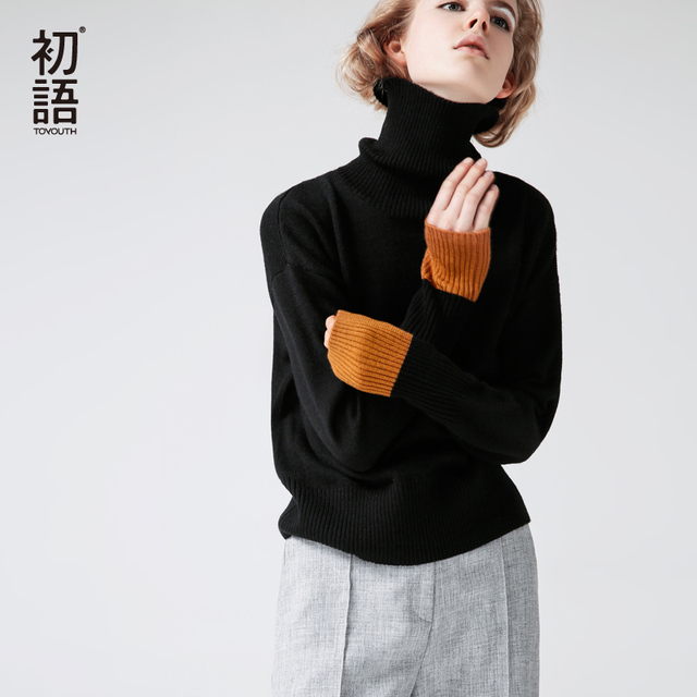 Toyouth Women Sweaters And Pullovers Autumn Turtlenect Long Sleeve Pullovers Black Red Color Women Casual Knitting Sweaters