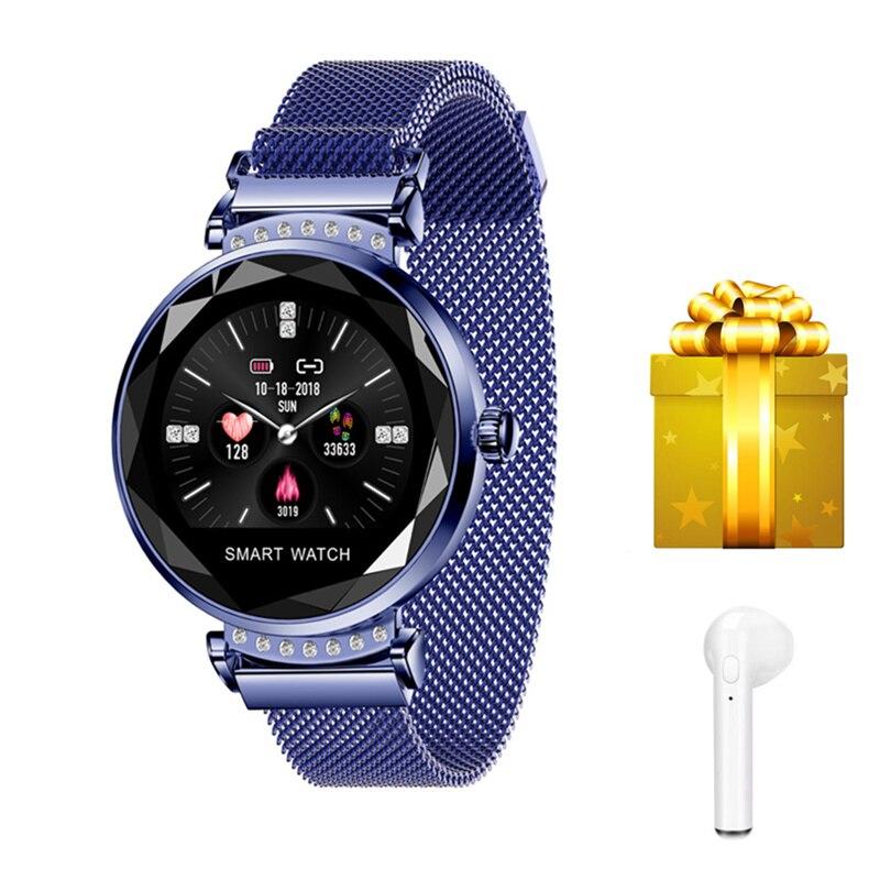 Smartband + écouteur/ensemble 2019 reloj inteligente mujer fille fitness bracelet 3D diamant verre intelligent bracelet femme pour iphone