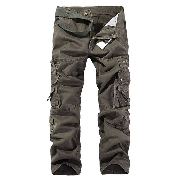 HEFLASHOR 2019 New Cargo Pants Men Combat Military Pants Cotton Multi Pockets Stretch Man Casual Trousers Plus Size
