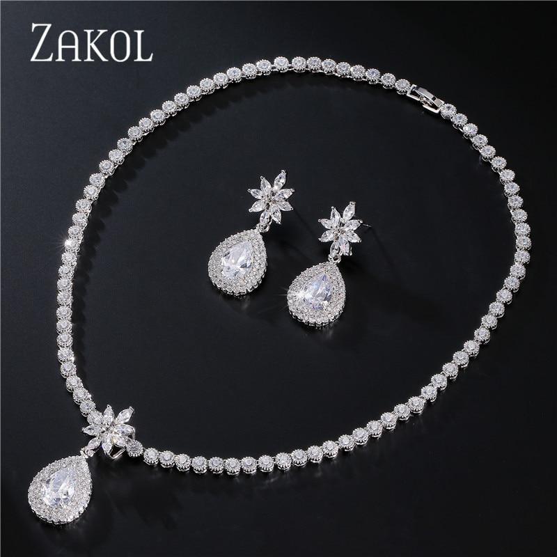 ZAKOL Luxury Flower Bridal Wedding Jewelry Set Fashion Sliver Color Water Drop Cubic Zirconia Women Jewelry Sets FSSP108