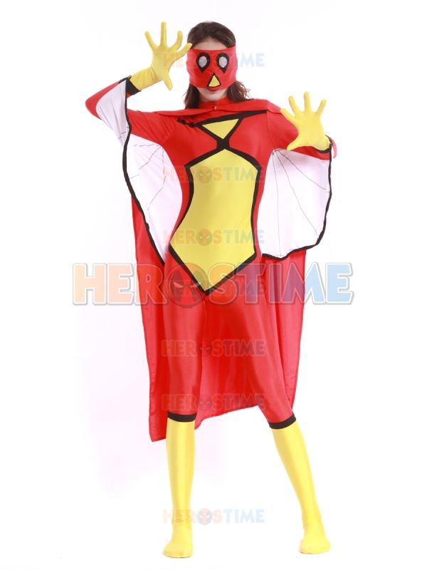 Spider-Woman Costume Spandex Female Halloween Cosplay Spiderman Superhero Costume The Most Popular Zentai Suit Free Shipping