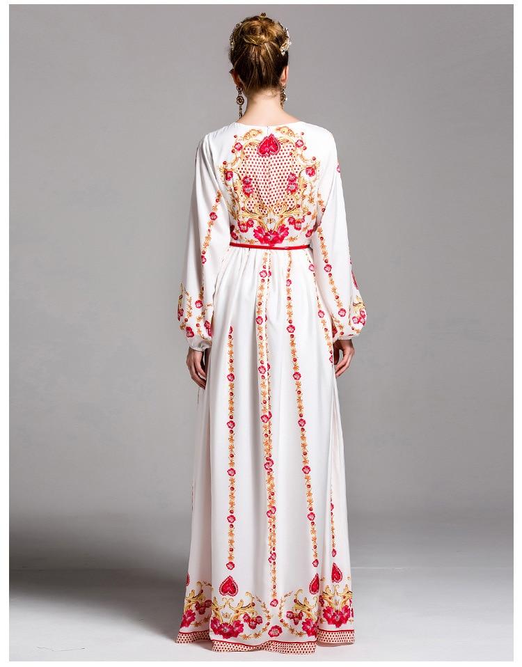 Mode Chic À blanc Manches Maxi Designer Soirée Noir Robe Robes Femmes Longues Noir Luxe Piste 2017 Blanc De Print Floral Longue qOwSdxBq5