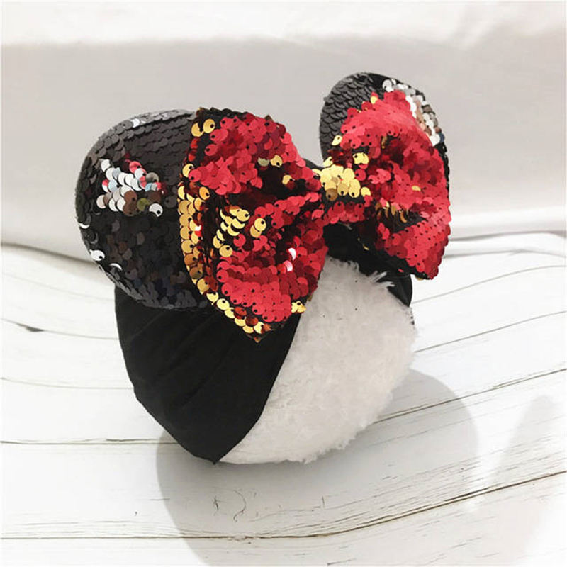Sequined Bows Baby Headbands Minnie Mouse Ears Girls Hats Newborn Turban Beanie Caps Baby Bows