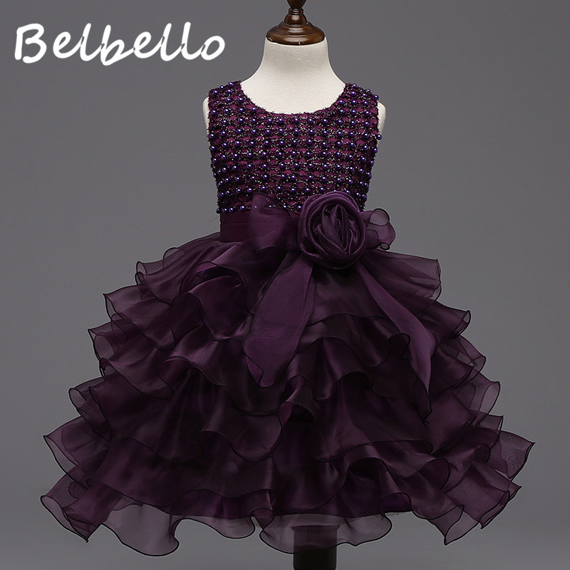 Belbello New Girls Dress Summer Kid Children Princess Dress Mesh Floral Sequins Sweet Casual Fashion Bowknot Children Clothing