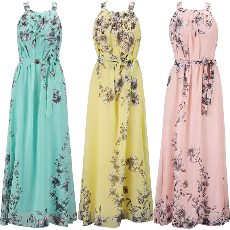 2018 Fashion Summer Women Elegant Boho Long Maxi Dress Charming O-Neck Chiffon Lady Evening Party beach Dress Plus Size S-6XL 5