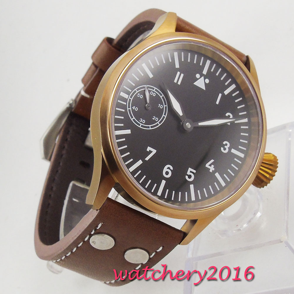 44mm parnis Black Sterile Dial Bronze Plated Case Luminous Hands Luxury Brand 17 Jewels 6497 Hand Winding movement men's Watch 44mm parnis blue dial luxury brand silver hands rose golden plated case luminous marks leather 6497 hands winding men s watch
