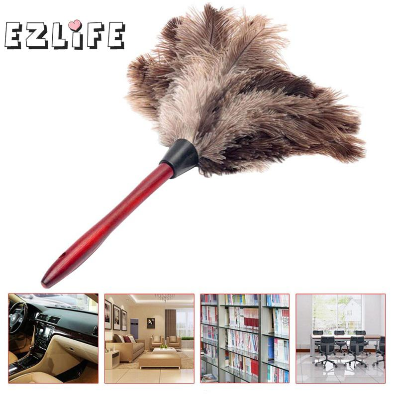 New 40cm Ostrich Natural Feather Duster Brush Wood Handle Anti-static Cleaning Tool Household Furniturer Car Dust Cleaner(China)