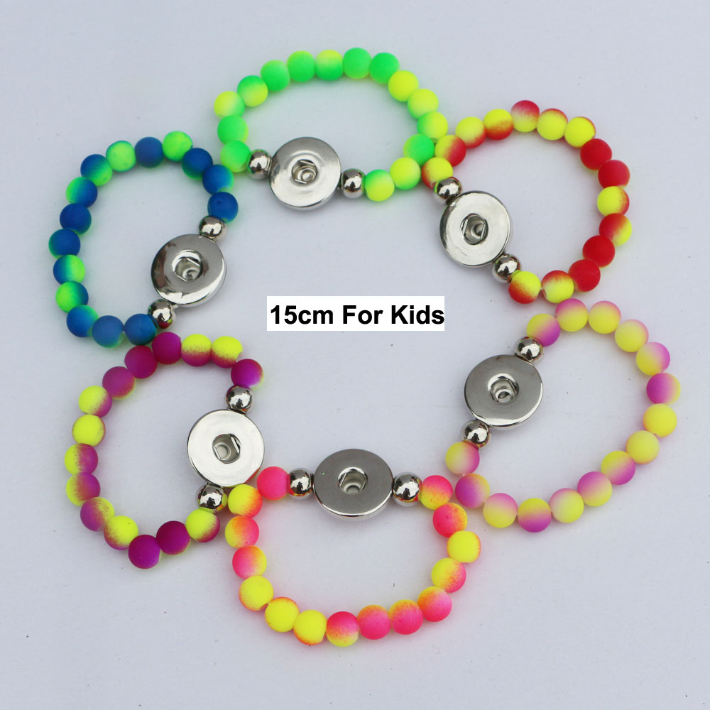 24pcs beauty double color rubber beads elastic children bracelet metal snap button bracelets fit 18mm snap