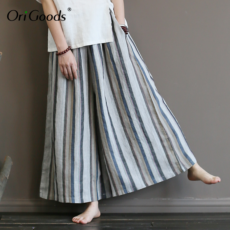 OriGoods Striped Linen   Wide     leg     Pants   Women Elastic waist Plus size   Wide     leg   Trousers Women Skirt   Pants   2019 Summer New A367