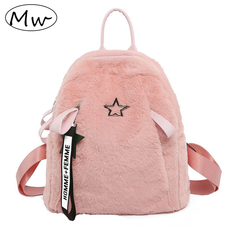 Pink Faux Fur Backpack With Letters Ribbons Anti-theft School Bags For Teenager Girls Female Small Travel Shoulder Bag Pack 2019