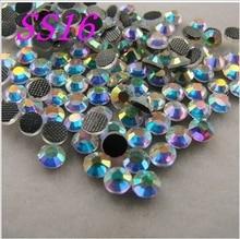 цена на  Buy 5 get 6 SS16 1440pcs/Bag Clear AB Crystal DMC HotFix FlatBack Rhinestones strass,DIY iron glass garment Hot Fix crystals