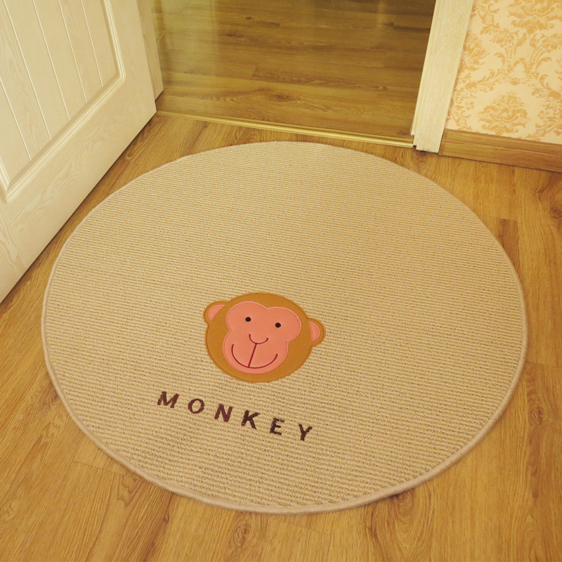 150cm*150cm Cute Little Monkey Print Korean Table Mat,Designer Kids Area Carpets,Elegant Round Rugs