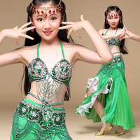 6 Colors Stage Performance Oriental Belly Dancing Clothes 3 Piece Suit Bra Belt Skirt Children Belly