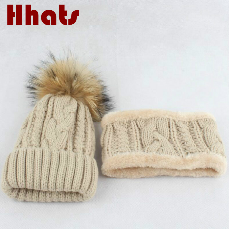 Thick Warmer Fleece Liner Winter Hat Scarf Set Solid Cable Knitted Beanie Bib Set For Baby Girl Autumn Kids Cap Neck Ring Sets