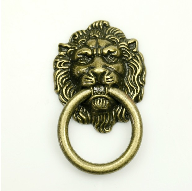 10Pcs/Lot Decorative Hardware Lion Head Kitchen Cabinet knob And Drawer Pull(Sizes:64mm * 52mm,Ring diameter:52mm)