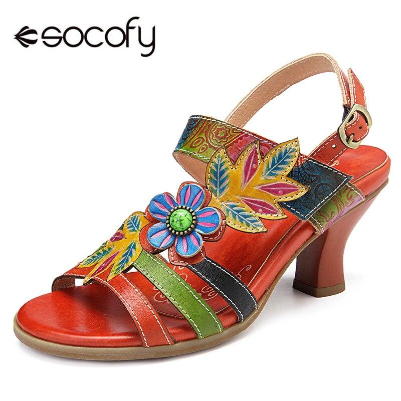 Socofy Bohème Carré Talons Sandales Femmes Chaussures Vintage Imprimé Véritable En Cuir Crochet et Boucle Peep Slingback Sandales Dames Chaussures