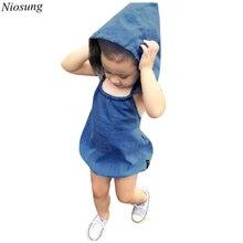 Niosung Infant Hooded Baby Girls Boys Denim Briefs Romper With Cap Pant Vest Sleeveless Jumpsuits Kids Children Clothing z