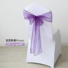 50 шт./компл. прозрачная лента органза свадьба фиолетовый пояс-кушак банты на стулья стул Саше Свадебные Узелок украшения банкетные принадлежности