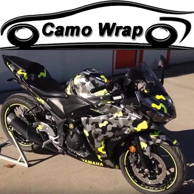 Adhesive Black Gray Yellow Car Sticker Wrap Snow Camouflage Vinyl - Vinyl for motorcycle