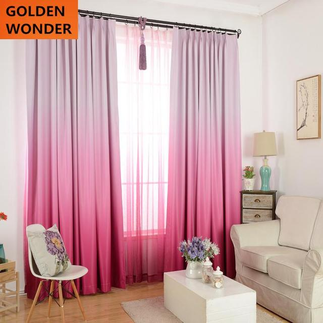 High Grade Solid Color Graceful Modern Curtains For Living Room Children Bedroom Pink Blue
