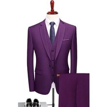 PEORCHID Slim Male Suit Fashion Men Formal Suit 2019 Fato De Noivo Groom Wear Party Purple Suit For Wedding Tuxedo(China)