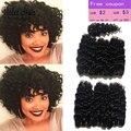 New Outono Afro Curly Weave Do Cabelo Humano de 8 polegadas 6 Feixes cabelos cacheados crespo Malásia Kinky Curly Virgem Cabelo Com Fecho Recool