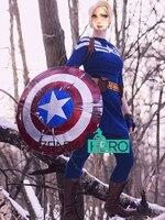משלוח חינם DHL החדש שתי חתיכות סקסי ליידי נשים קפטן אמריקה תלבושות הכחול הכהה Cosplay תלבושות 2016 פנסי תלבושות 16072905