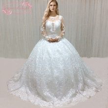 SuperKimJo Long Sleeve Lace Applique Wedding Dresses Luxury Boho Arabic Ball Gown Robe De Mariee