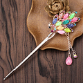 Colorful Chinese Vintage Hair Sticks Wedding Bridal Rhinestone Peacock Hairpin Chain Headpieces For Women