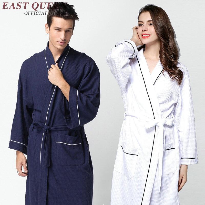 Bath robe women men bathrobe women home robe long soft cotton bathrobe lovers kimono sleepwear dressing gown AA2480 YQ