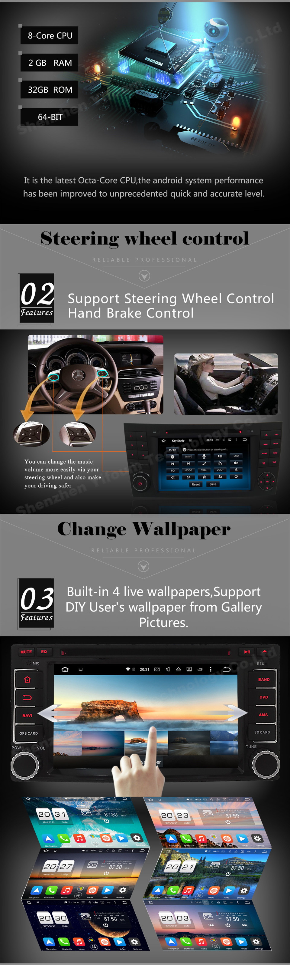 Octa Core 2GB RAM 32GB ROM Android 6.0.1 2 Din Car DVD Player Touch Screen Multimedia For Volkswagen Sagitar 2012 2013 2014