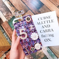 Newest For iphone case 7 diamond encrusted glass drip technology heavy anti fall lanyard fashion girls for iphone X 6 phone case