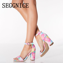 Summer Sandals Multi Luxury Women's Designer Shoes 2019 High Heel Buckle Fashion Square Heels Mixed Colors Ladies Wild Shoes цена 2017