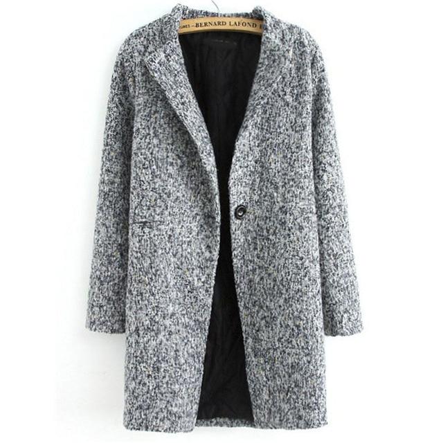 e62e3850beb9 Popular Newest Spring Casual Hot Sale Women s Fashion Grey Long Sleeve  Single Button Tweed Coat