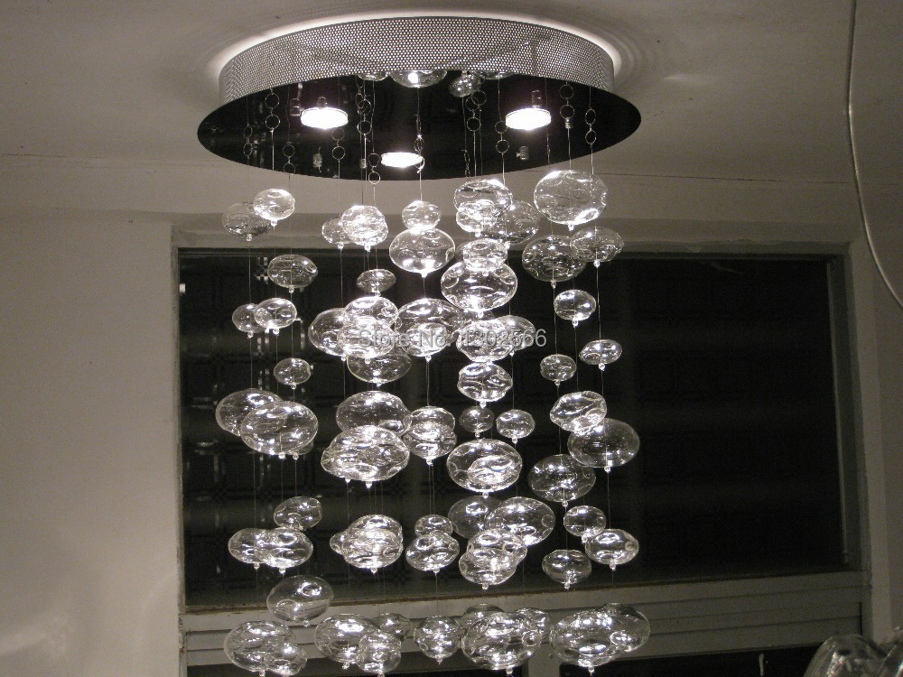 Hauteur 220cm murano en raison suspension lustre bulle for Lustre 3 suspensions