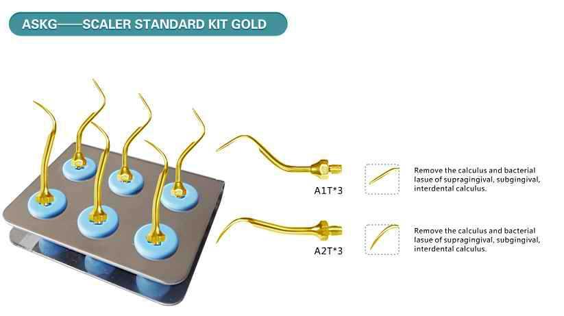 1 PCS ASKG AMDENT Scaler Standard Kit GOLD WITH AMDENT TIPS #37 #39 DENTAL MATERIAL