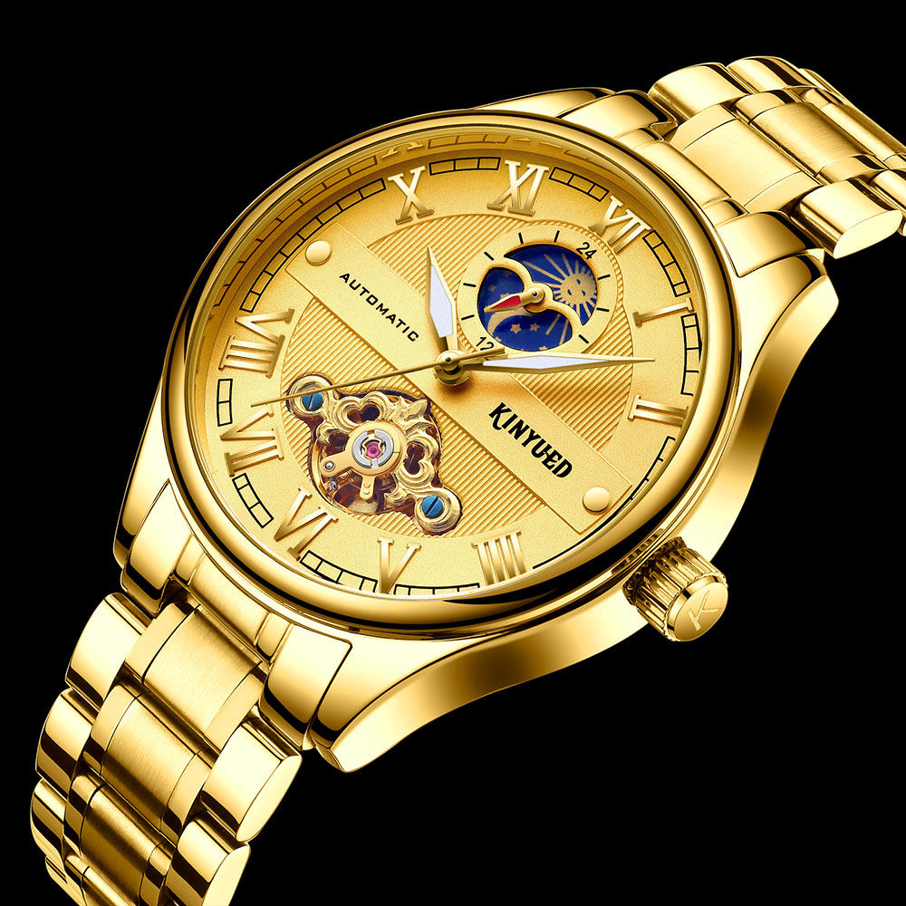 KINYUED Business Mechanical Watch Men Moon Phase Mens Wristwatch Gold Tourbillon Clock Male Steel horloges mannen relojes hombreKINYUED Business Mechanical Watch Men Moon Phase Mens Wristwatch Gold Tourbillon Clock Male Steel horloges mannen relojes hombre