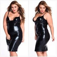 גודל חם למכירה סקסית פלוס נשים שמלה לטקס PU מועדון ללבוש בלילה העמוק V ללא משענת פורנו שמלת וינטג 'נדן Vestidos נשים