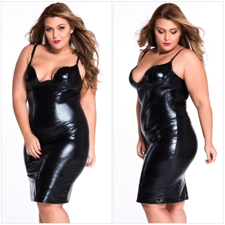 Hot Sale Sexy Plus Size Women Dress Latex PU Club Night Wear Deep-V Backless Porno Sheath Vintage Dress Vestidos Women plus size women in leather