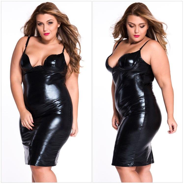 Hot Sale Sexy Plus Size Women Dress Latex PU Club Night Wear Deep-V Backless Porno Sheath Vintage Dress Vestidos Women