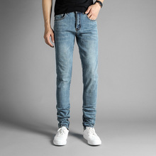 European American High Street Fashion Mens Jeans Blue Color Elastic Denim Ankle Zipper Jeans Pants DSEL Brand Skinny Jeans Men