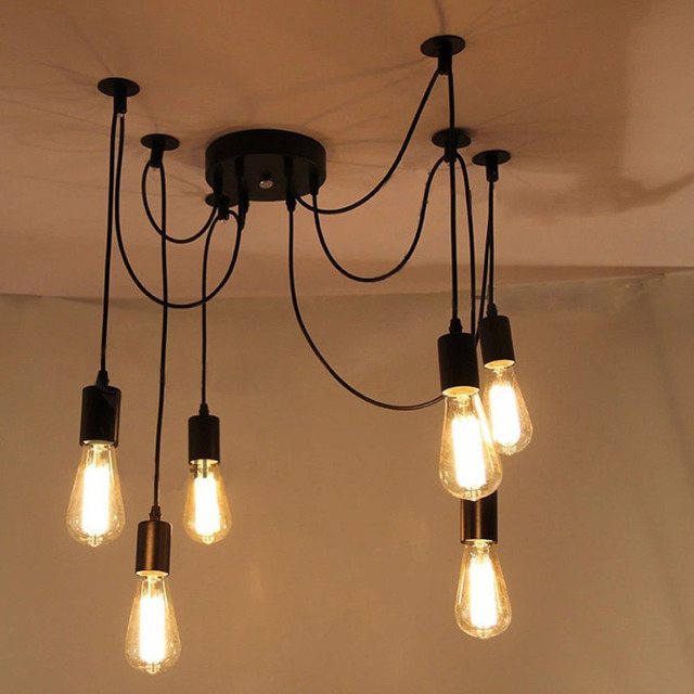 Good Looking Eletrical Wire Pendant Light With 6 Heads,E27 Pendant Lamp  Edison Vintage Spider