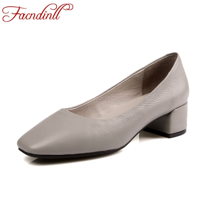 FACNDINLL 2018 new spring women pumps genuine cow leather med heels round toe shoes woman dress office lady casual pumps shoes 2017 shoes women med heels tassel slip on women pumps solid round toe high quality loafers preppy style lady casual shoes 17