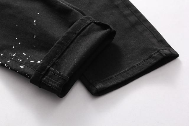 European Nightclub style famous brand jeans luxury Men denim trousers Patchwork Slim black letter jeans Pencil Pants for men